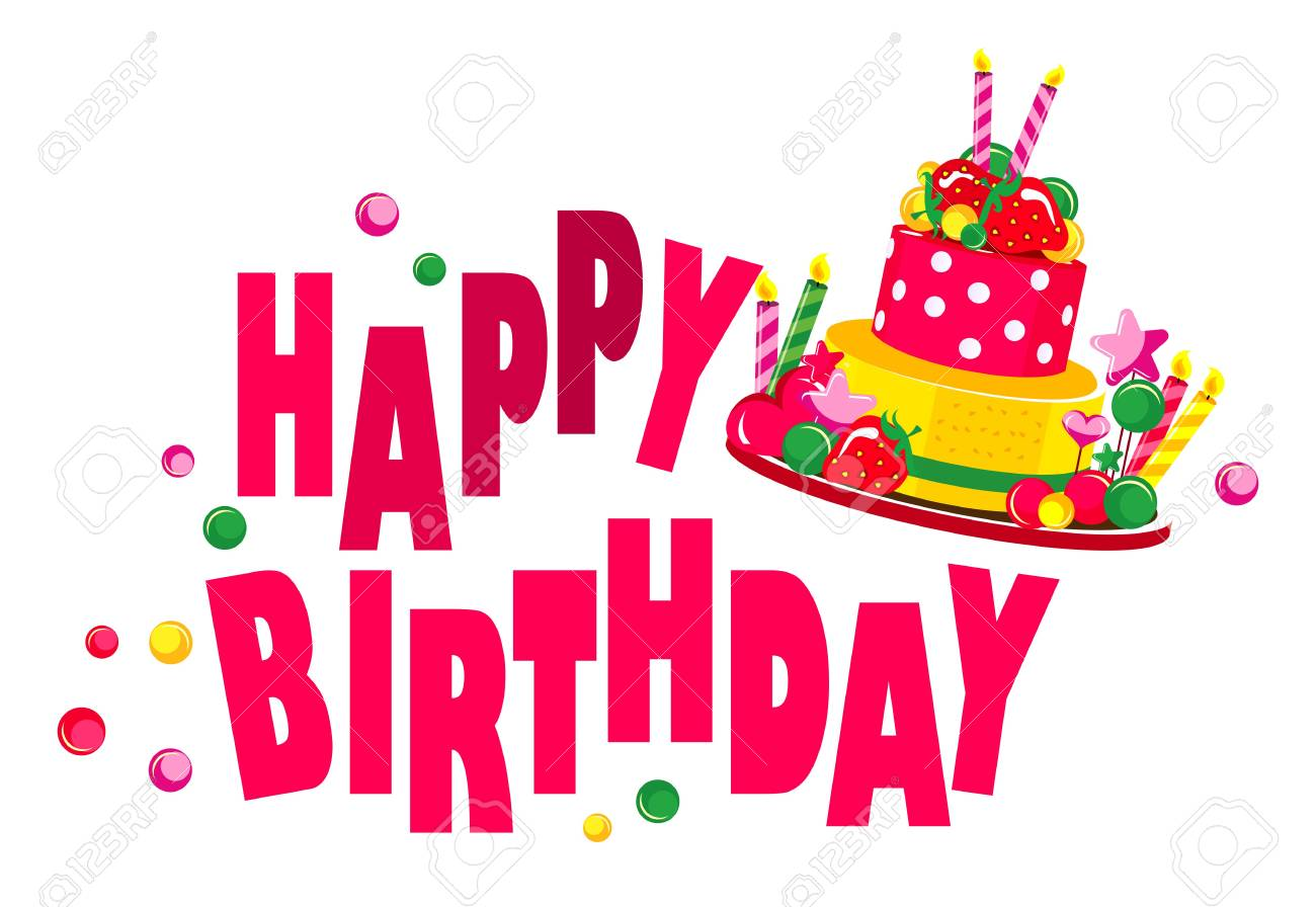 Vector Illustration Birthday Greeting Text On A White Background Royalty Free Cliparts Vectors And Stock Illustration Image 71452620