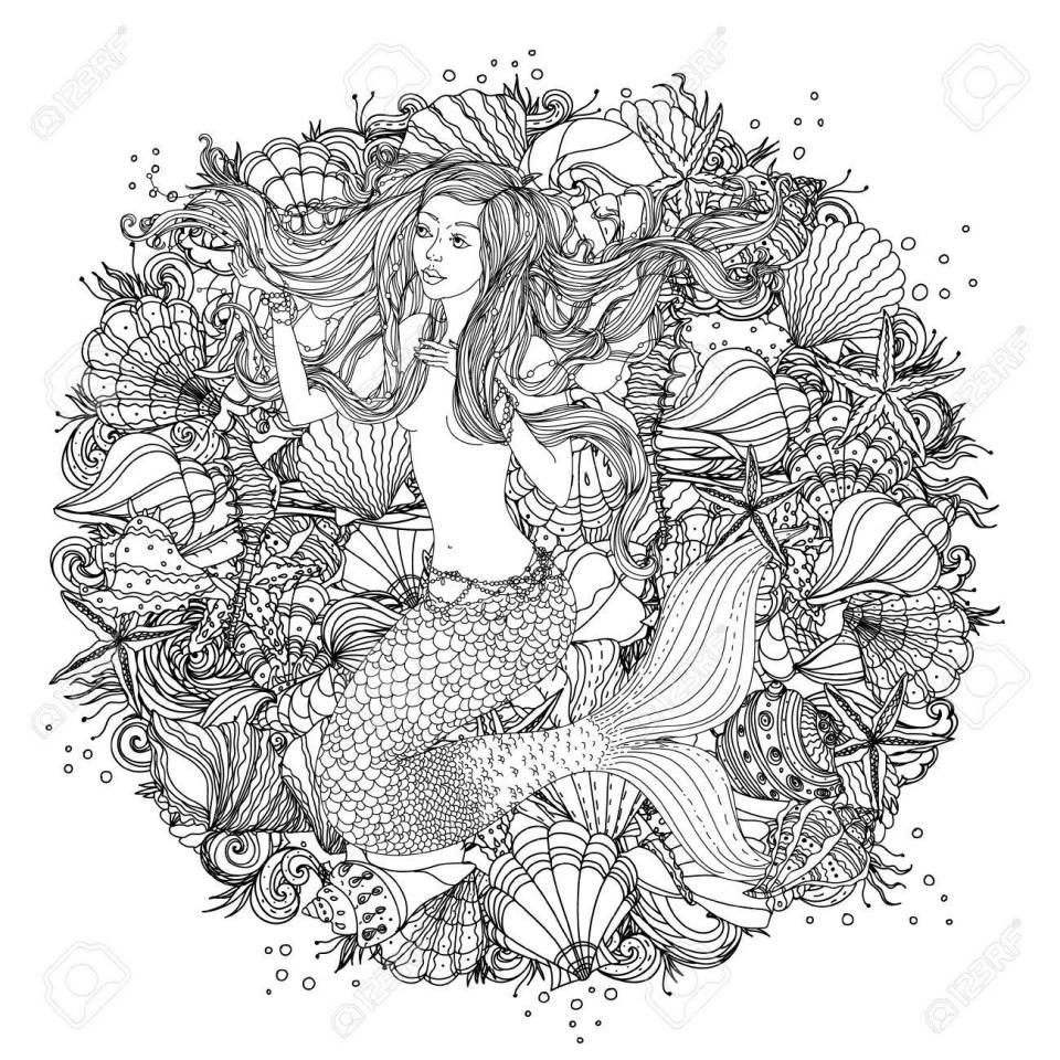 塗り絵の貝殻、ヒトデ、人魚のイメージで海草の抽象的な髪とデザイン要素
