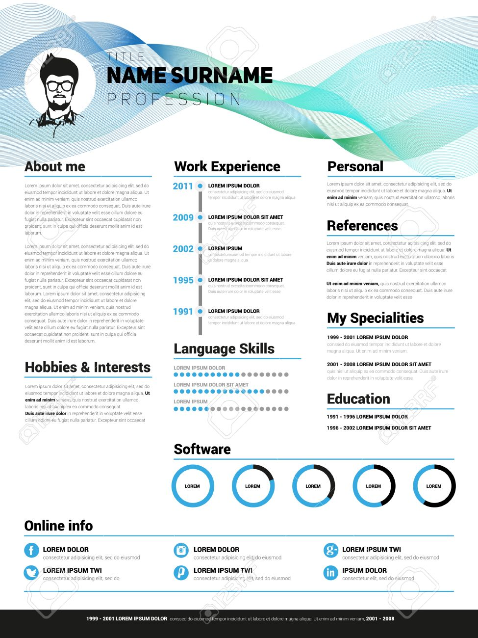 resume template minimalist cv vector design royalty free
