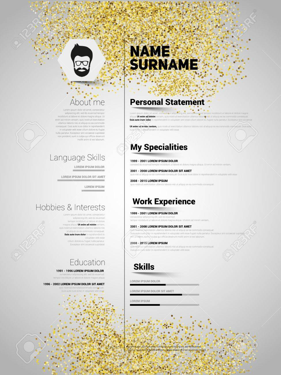 Resume Minimalist CV In Gold Glitter Style  Resume Template With     Resume Minimalist CV in gold glitter style  Resume template with simple  design  company application