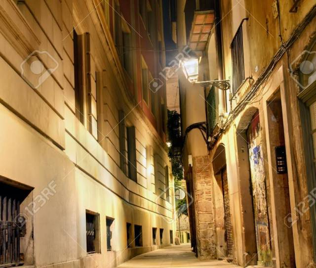 Nightly Lane In The Gothic Quarter Barcelona Spain Stock Photo