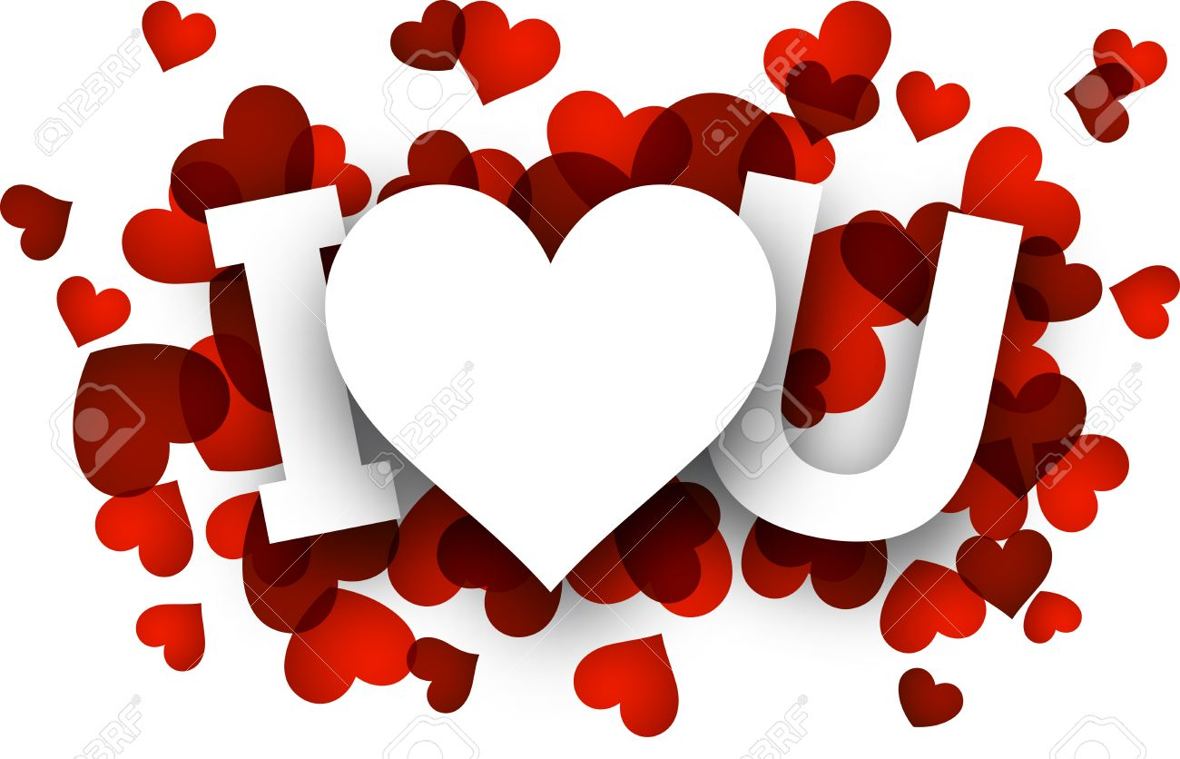 White I Love U Sign Over Red Hearts Royalty Free Cliparts Vectors And Stock Illustration Image 35627213