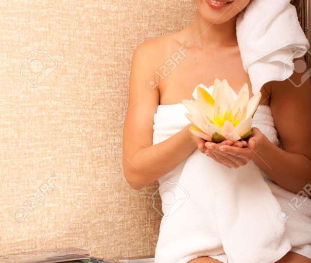 Beautiful Japanese Woman In Bathroom With Towels Stock Photo 9002848