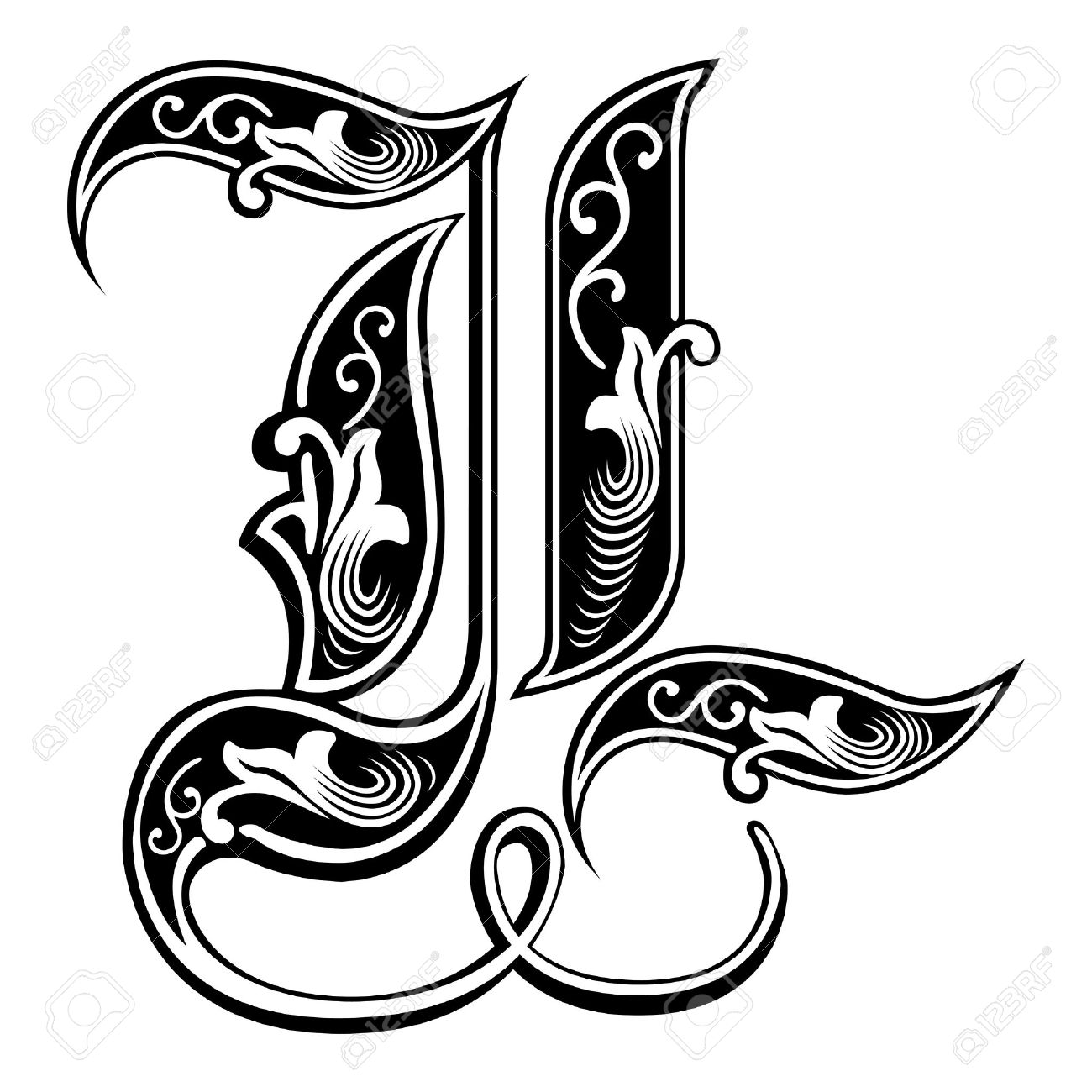 beautiful decoration english alphabets gothic style letter