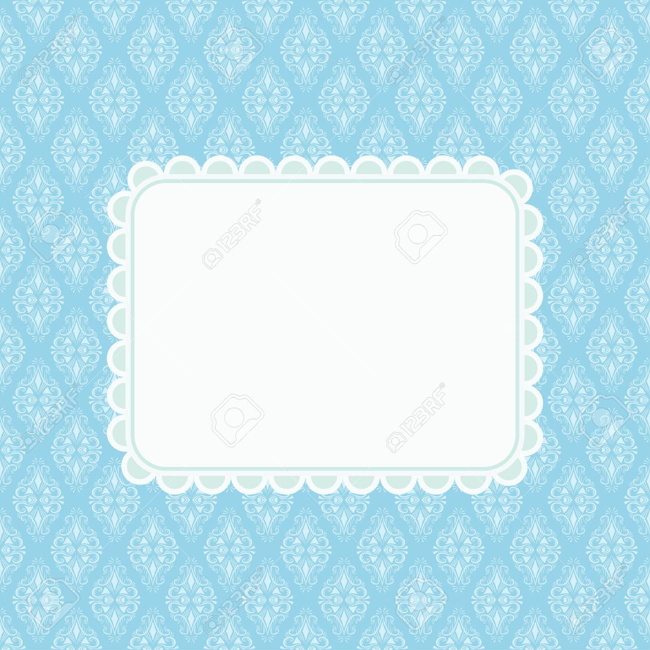 invitation card template with blank space for text on blue damask