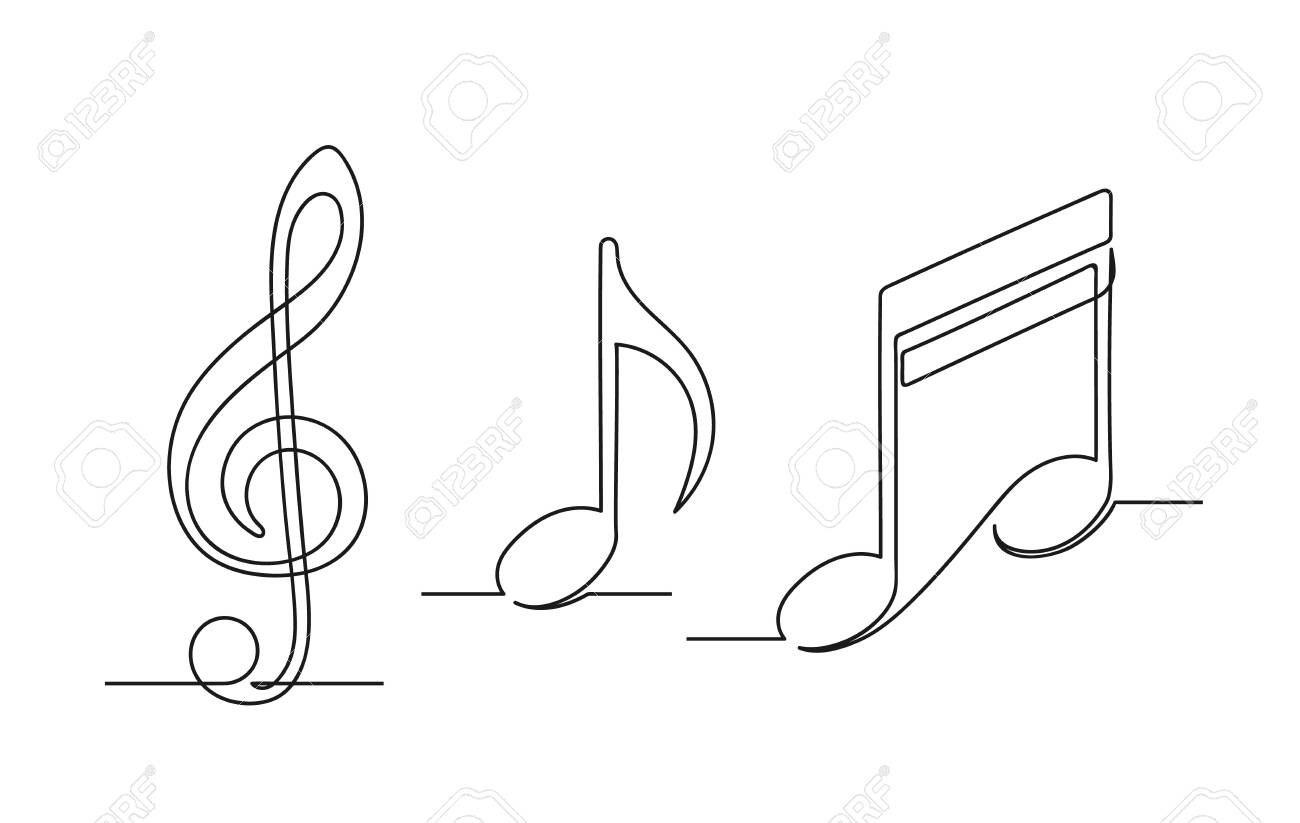 Set Of Continuous One Line Drawing Of A Musical Notes Treble Royalty Free Cliparts Vectors And Stock Illustration Image 141819854