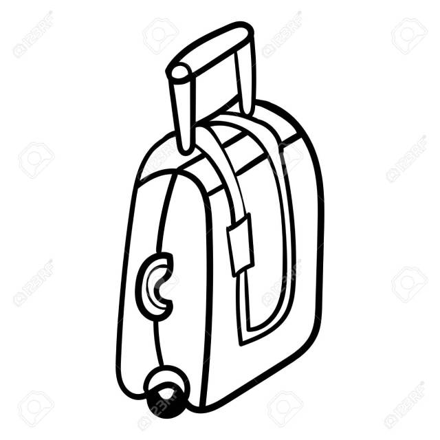The Suitcase Is Located In Profile. Doodle Suitcase For Travelling