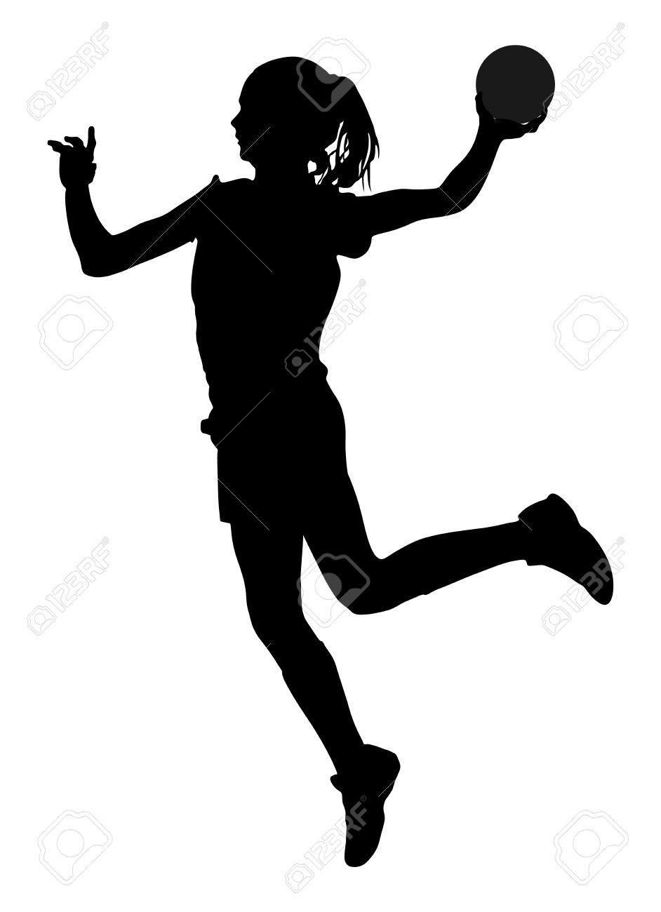 handball spieler in aktion vektor silhouette illustration isoliert auf weissem hintergrund frau handballer symbol handball madchen in die luft