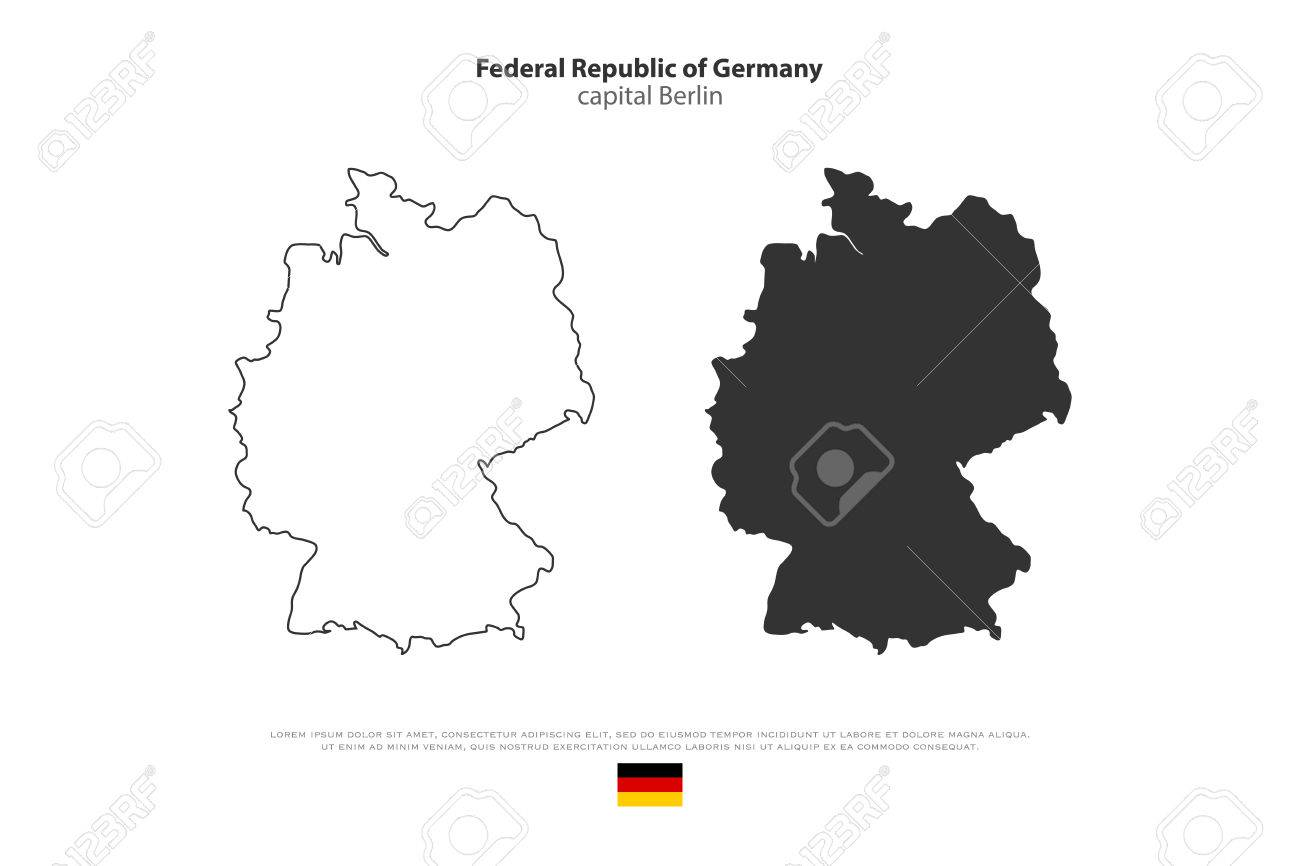 Federal Republic Of Germany Map Outline And Official Flag Icon     Federal Republic of Germany map outline and official flag icon isolated on  white background  vector