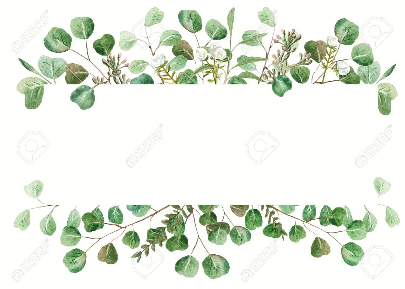 Eucalyptus Frame On White Background Wedding Invitation Template