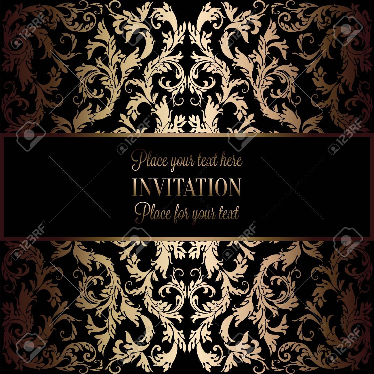 resume de fond avec antique noir de luxe et or frame vintage banniere victorian damasse florale ornements de papier peint carte d invitation