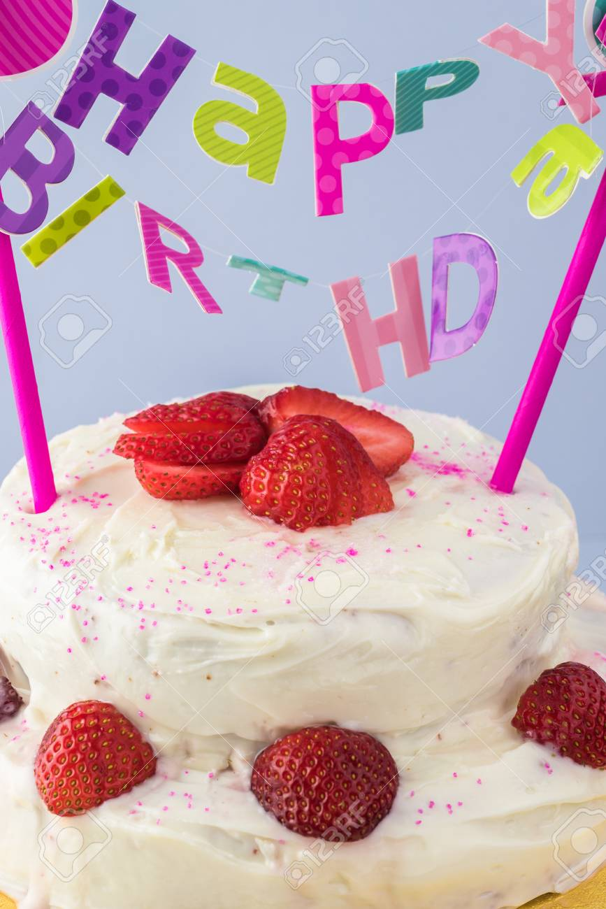 Close Up Of Homemade Strawberry Cake With Happy Birthday Banner Stock Photo Picture And Royalty Free Image Image 88374200