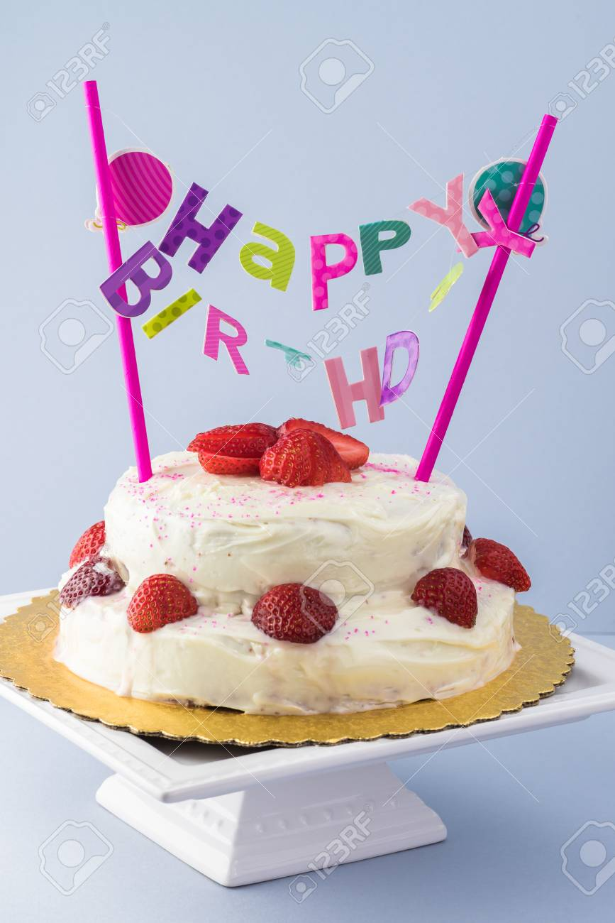 Close Up Of Homemade Strawberry Cake With Happy Birthday Banner Stock Photo Picture And Royalty Free Image Image 88374204
