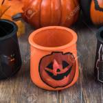 Close Up Of Glass Candle Holders Painted For Halloween Holiday Stock Photo Picture And Royalty Free Image Image 109190240