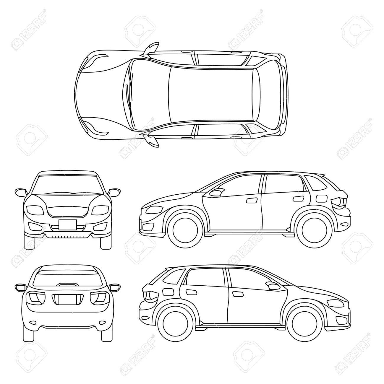 Offroad suv auto outline vector vehicle car model suv illustration
