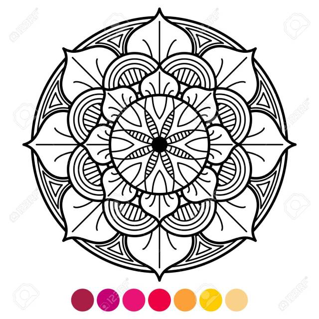 Mandala Coloring Page For Adults. Antistress Coloring With Color