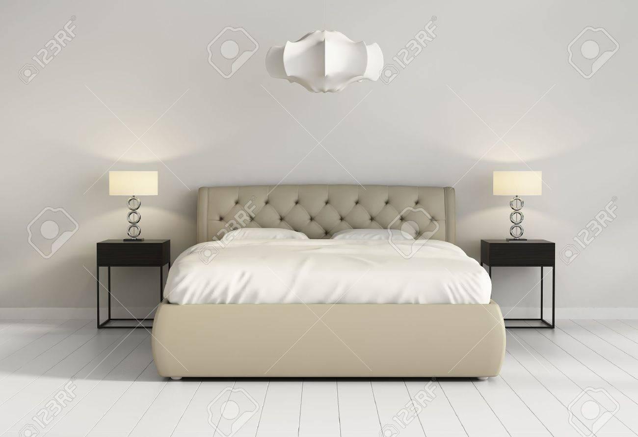 chic lit de cuir capitonne en face de la chambre a coucher contemporain chic