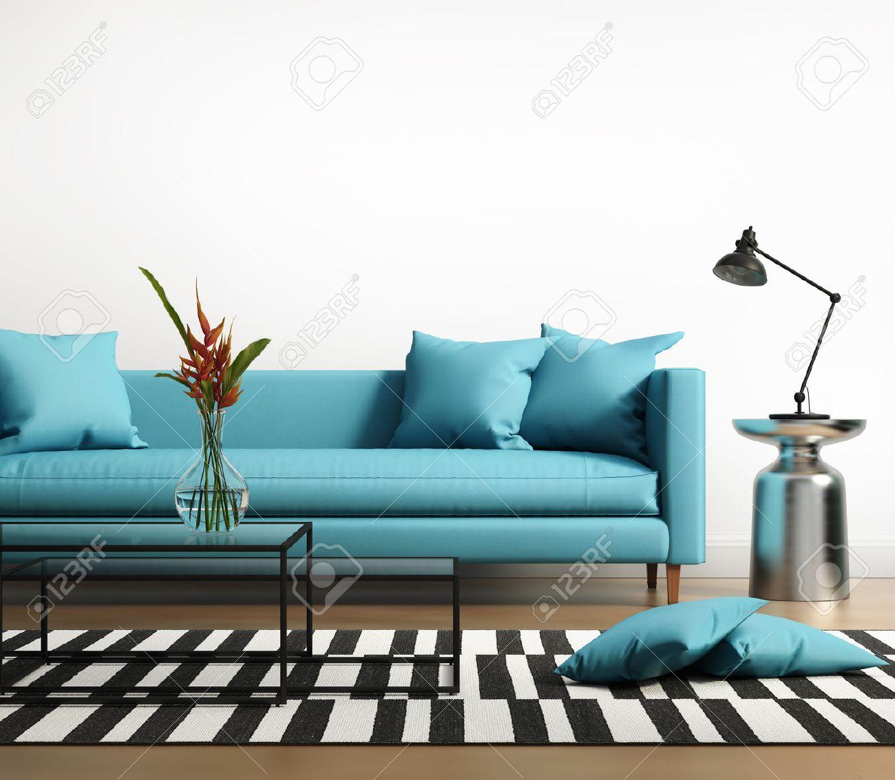 interieur moderne avec un canape bleu turquoise dans le salon