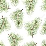 Simple New Year Seamless Pattern With Green Pine Branches Watercolor Stock Photo Picture And Royalty Free Image Image 76098306