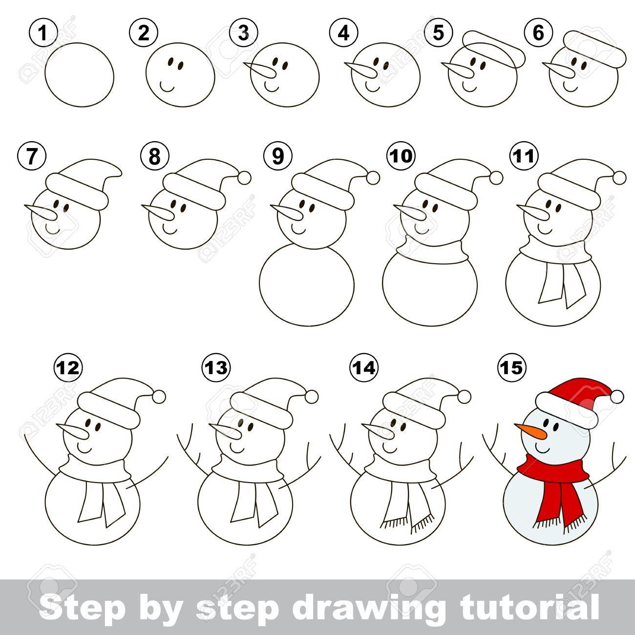 Dessin Tutoriel Pour Les Enfants Comment Dessiner Le Bonhomme De Neige Drole Clip Art Libres De Droits Vecteurs Et Illustration Image 52992221