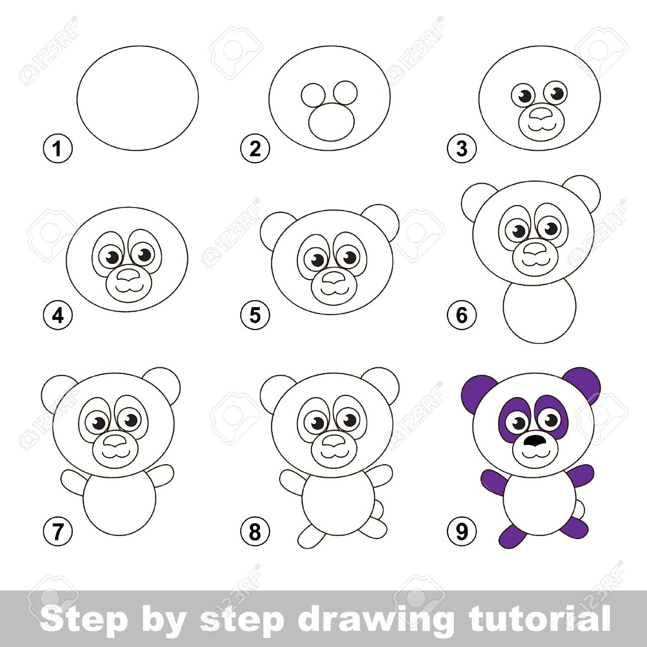 Step By Step Drawing Tutorial Visual Game For Kids How To Draw Royalty Free Cliparts Vectors And Stock Illustration Image 53538365