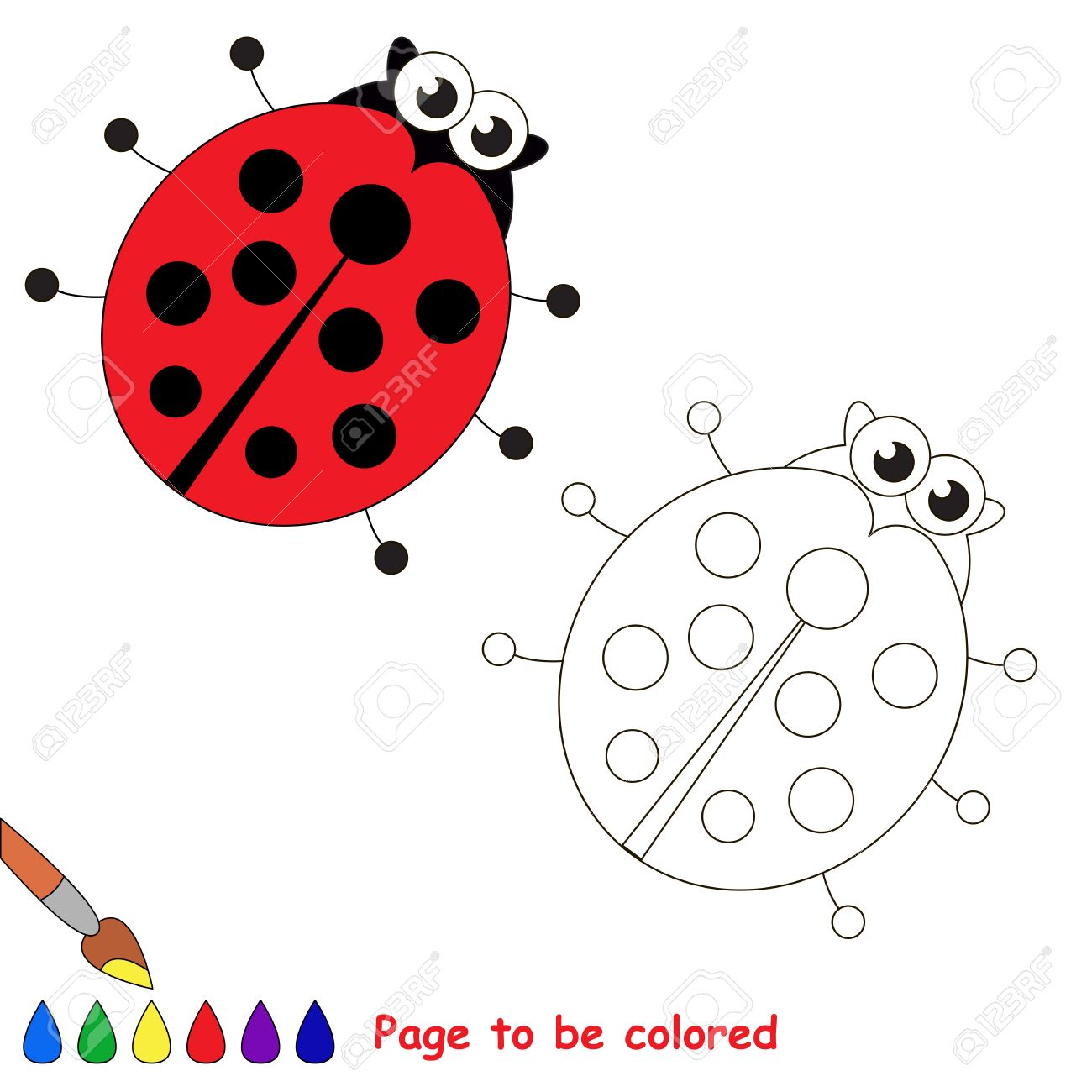 Ladybird To Be Colored Coloring Book To Educate Kids Learn Royalty Free Cliparts Vectors And Stock Illustration Image 60596506
