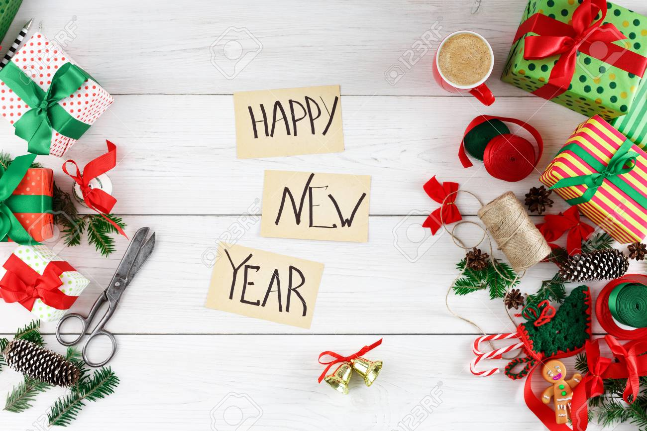 Happy New Year Decoration  Words Written On Craft Paper  Top   Stock     Happy new year decoration  words written on craft paper  Top view of tools  and