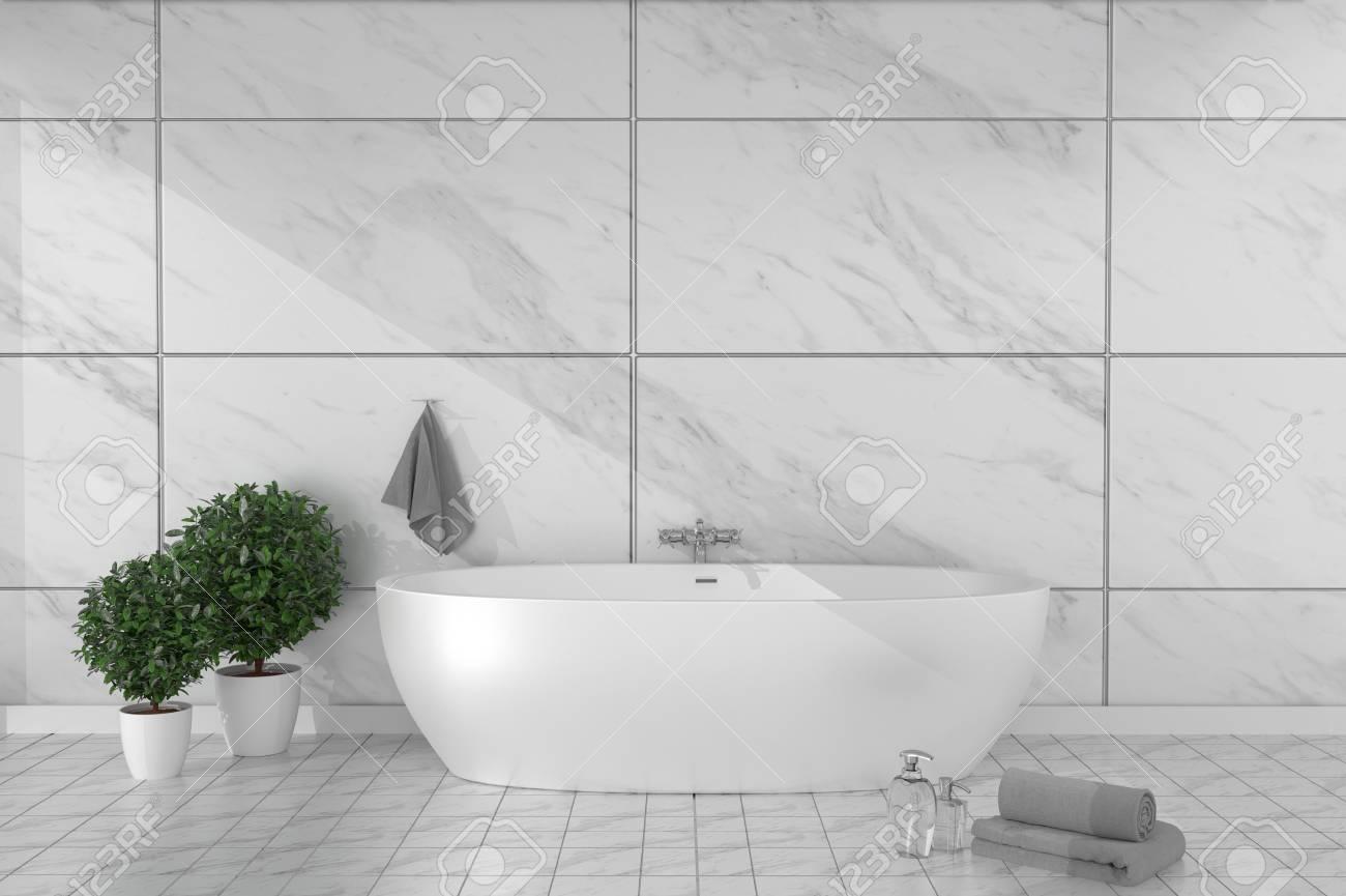 bathroom interior bathtub in ceramic tile floor on granite tiles