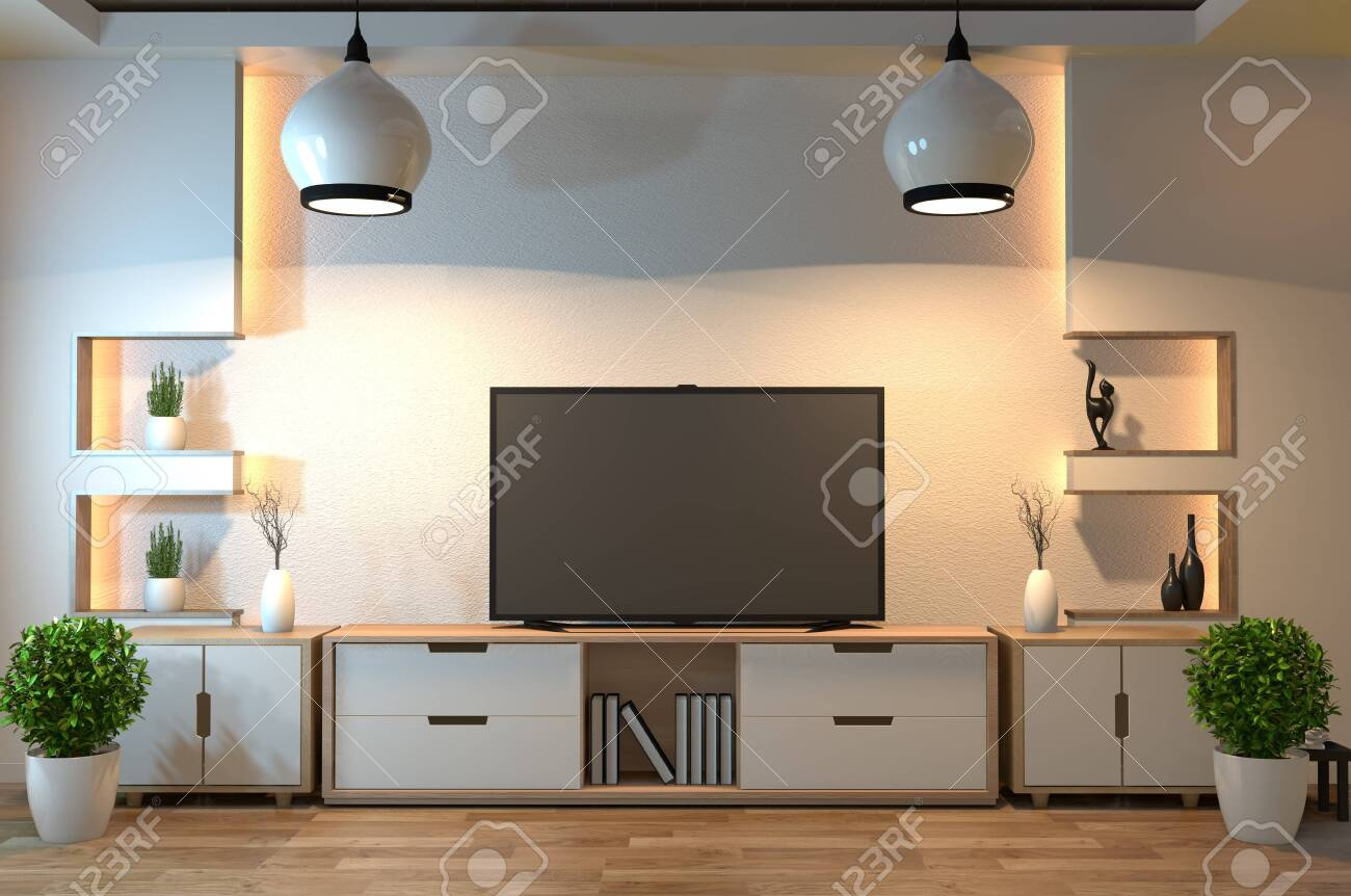 interior design modern living room with smart tv table lamp