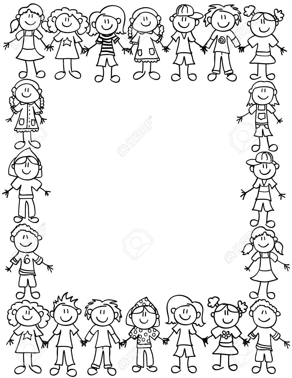 Bordure De Cadre Ou De Page De Personnages De Dessins Animes Enfant Mignon Tenant Par La Main Contour Noir Clip Art Libres De Droits Vecteurs Et Illustration Image 36573582