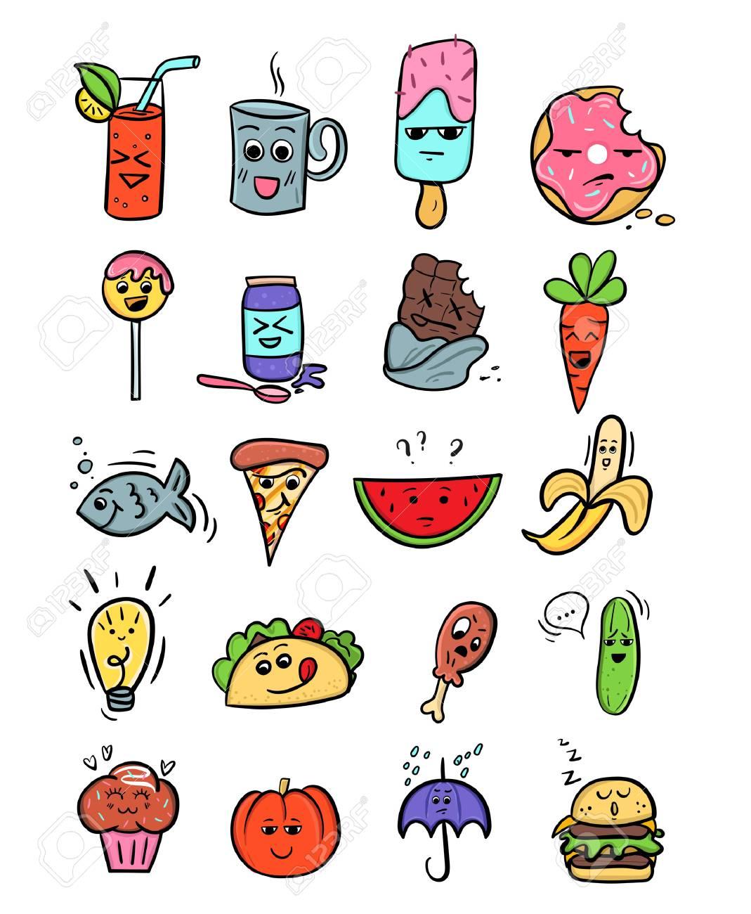 Kawaii Food Set Fastfood Cartoon Illustrations Hand Drawn Doodles Royalty Free Cliparts Vectors And Stock Illustration Image 90827861