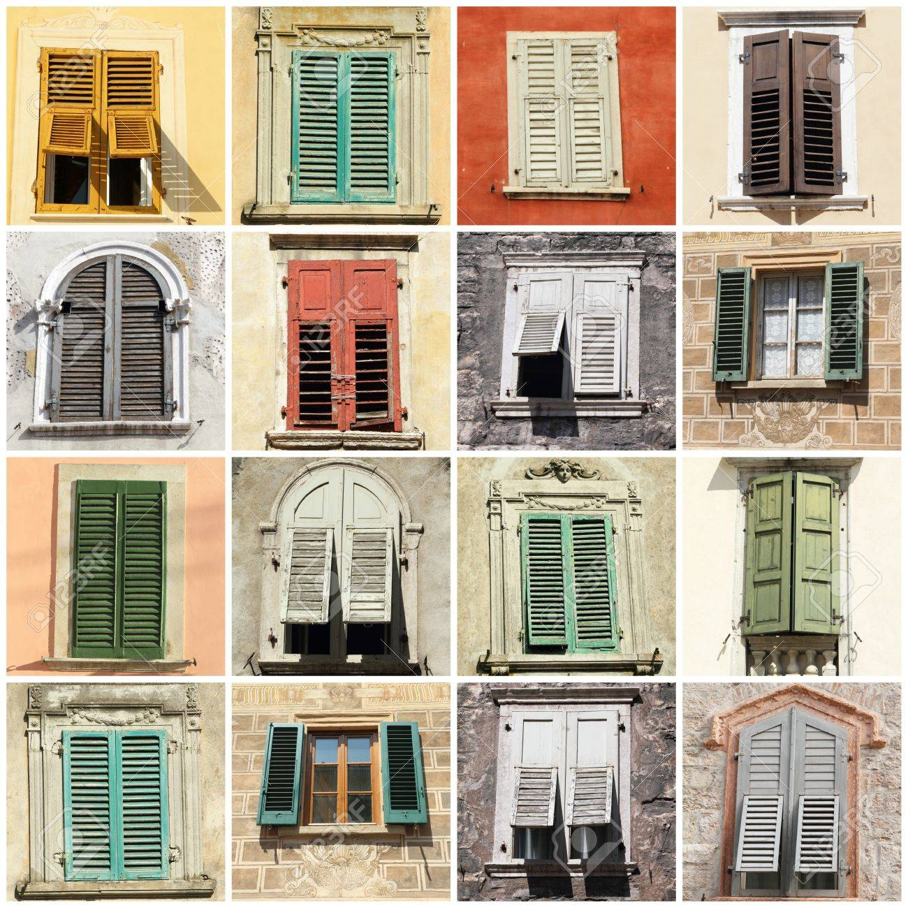 Collage With Antique Windows With Shutters In Italy Europe