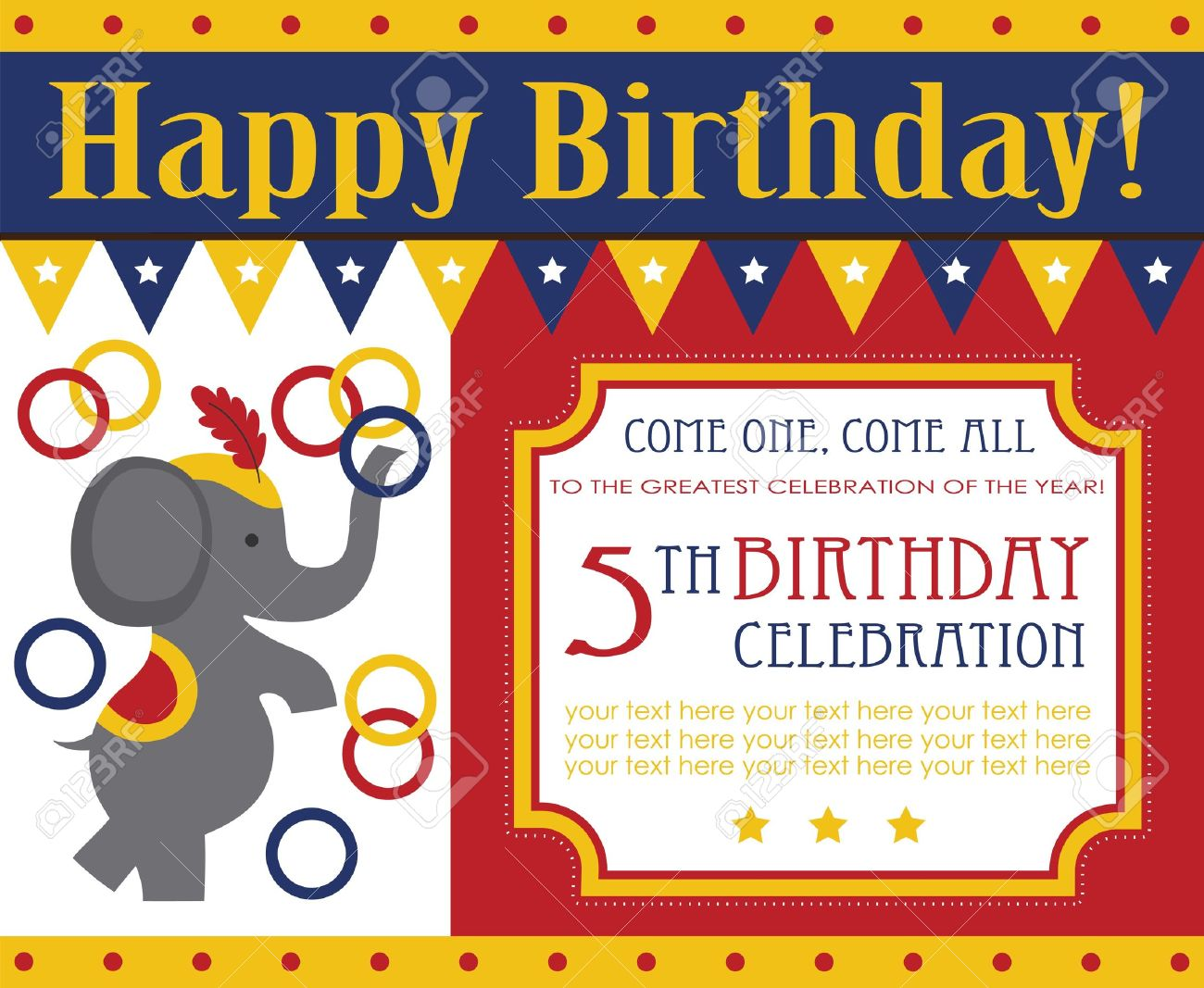 kid birthday invitation card design vector illustration