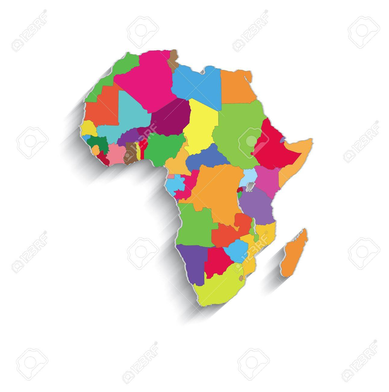 Raster Africa Political Colors Map Paper 3D Individual States     raster Africa political colors map paper 3D individual states puzzle Stock  Photo   22643251