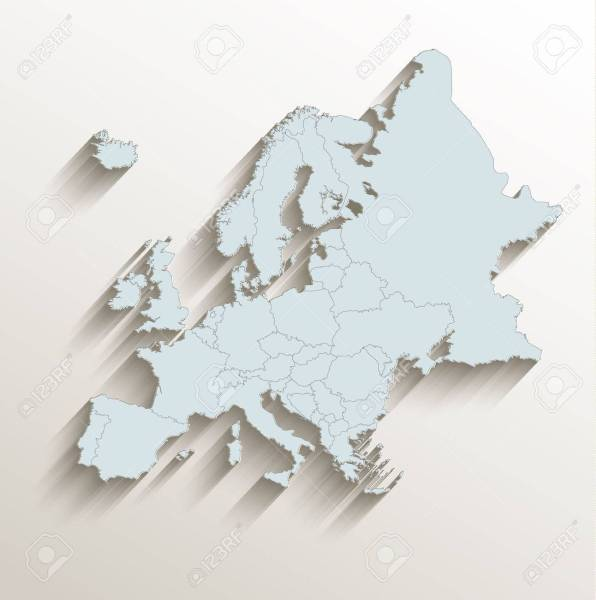 Europe Political Map White Blue 3D Raster Stock Photo  Picture And     Europe political map white blue 3D raster Stock Photo   62635736