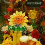 Thanksgiving Or Festive Autumn Display With A Scarecrow Cupcakes Stock Photo Picture And Royalty Free Image Image 16155528