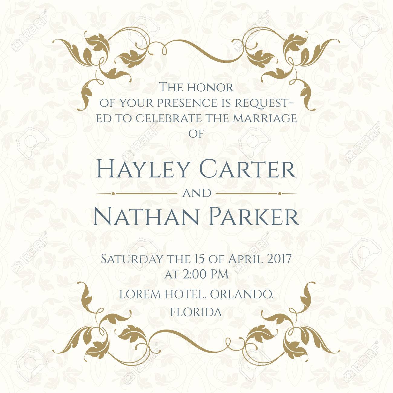 invitation card with floral borders on seamless background wedding