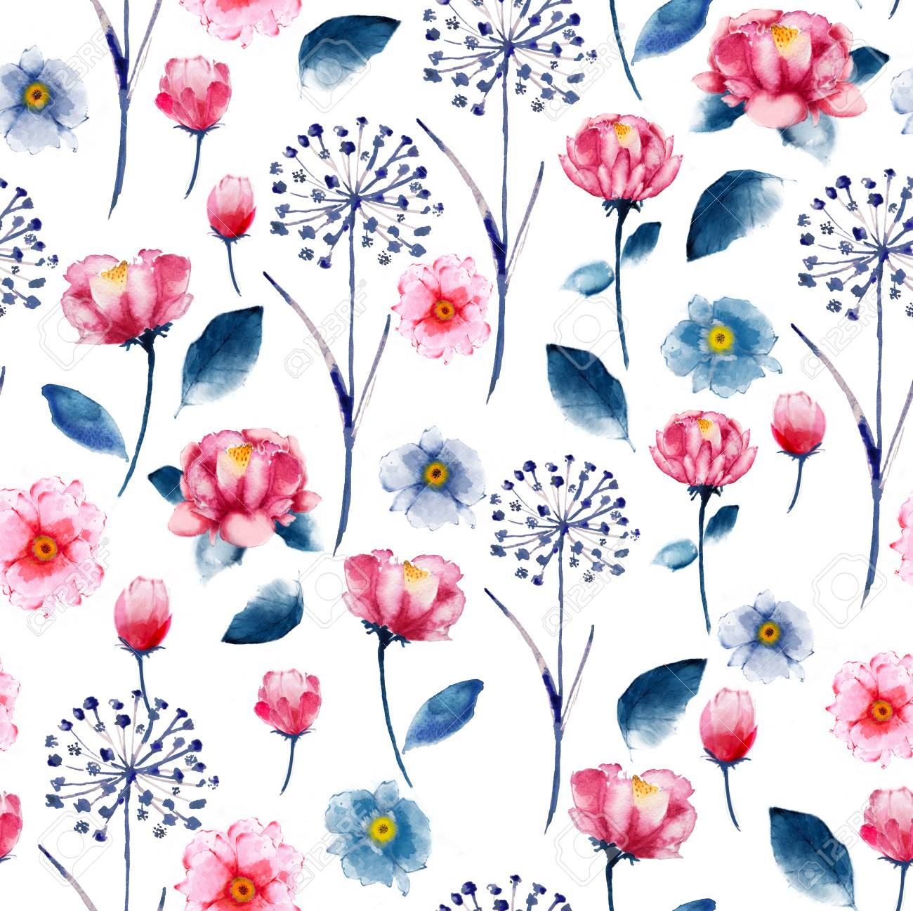 Seamless Bright Watercolor Floral Pattern Delicate Flower Wallpaper Stock Photo Picture And Royalty Free Image Image 92319461