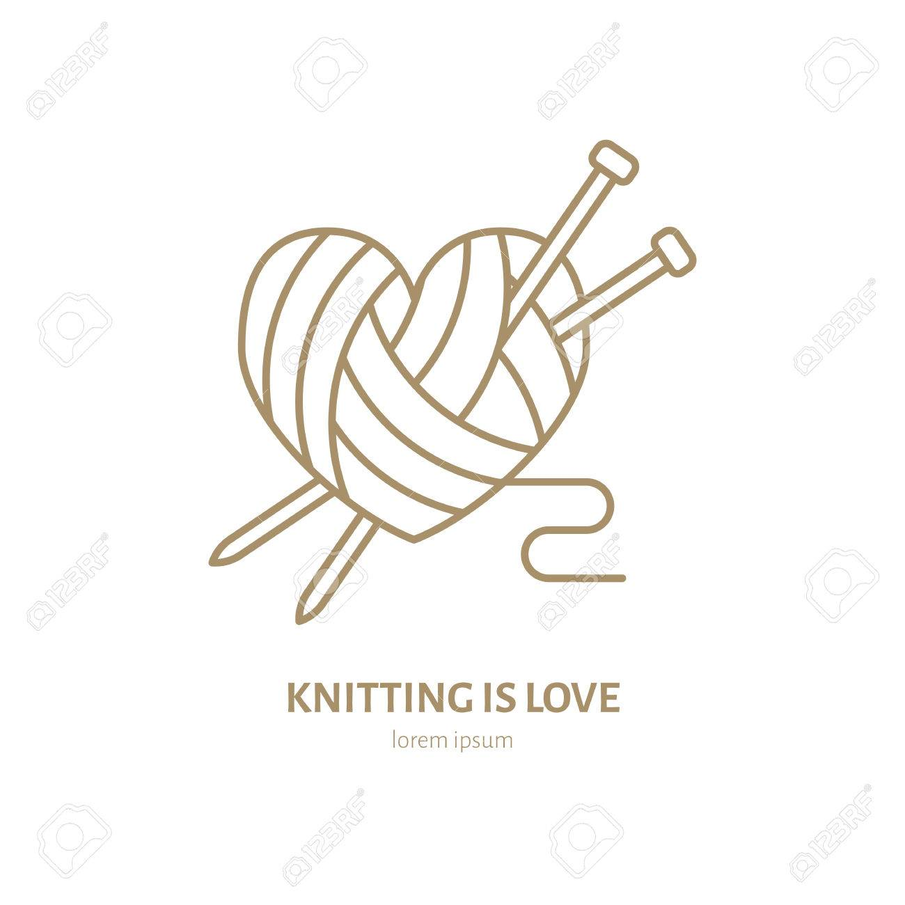 logo de ligne de magasin a tricoter fil plat magasin signe illustration de pelotes de laine avec des aiguilles a tricoter