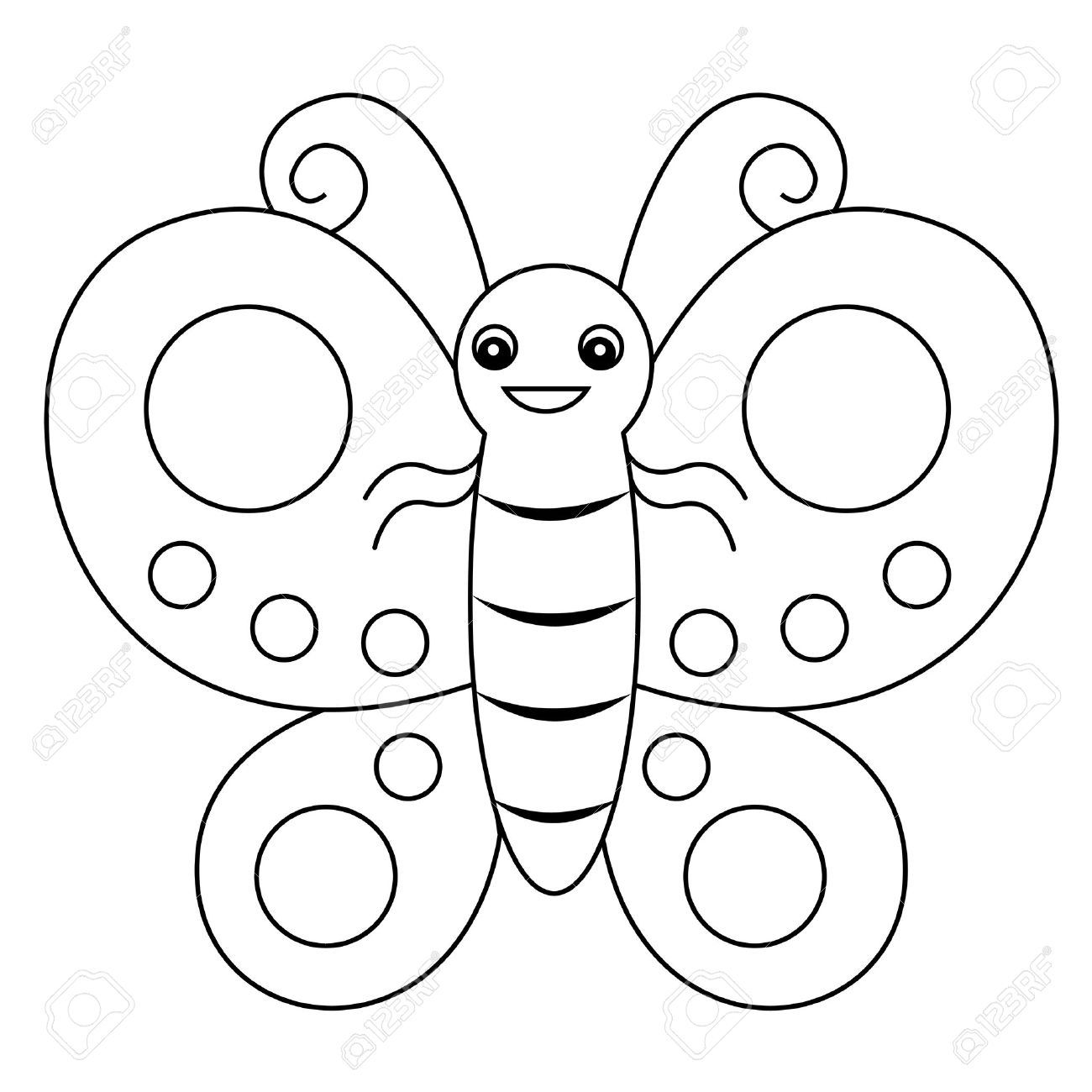 cute outlined butterfly printable graphic for pre school kids