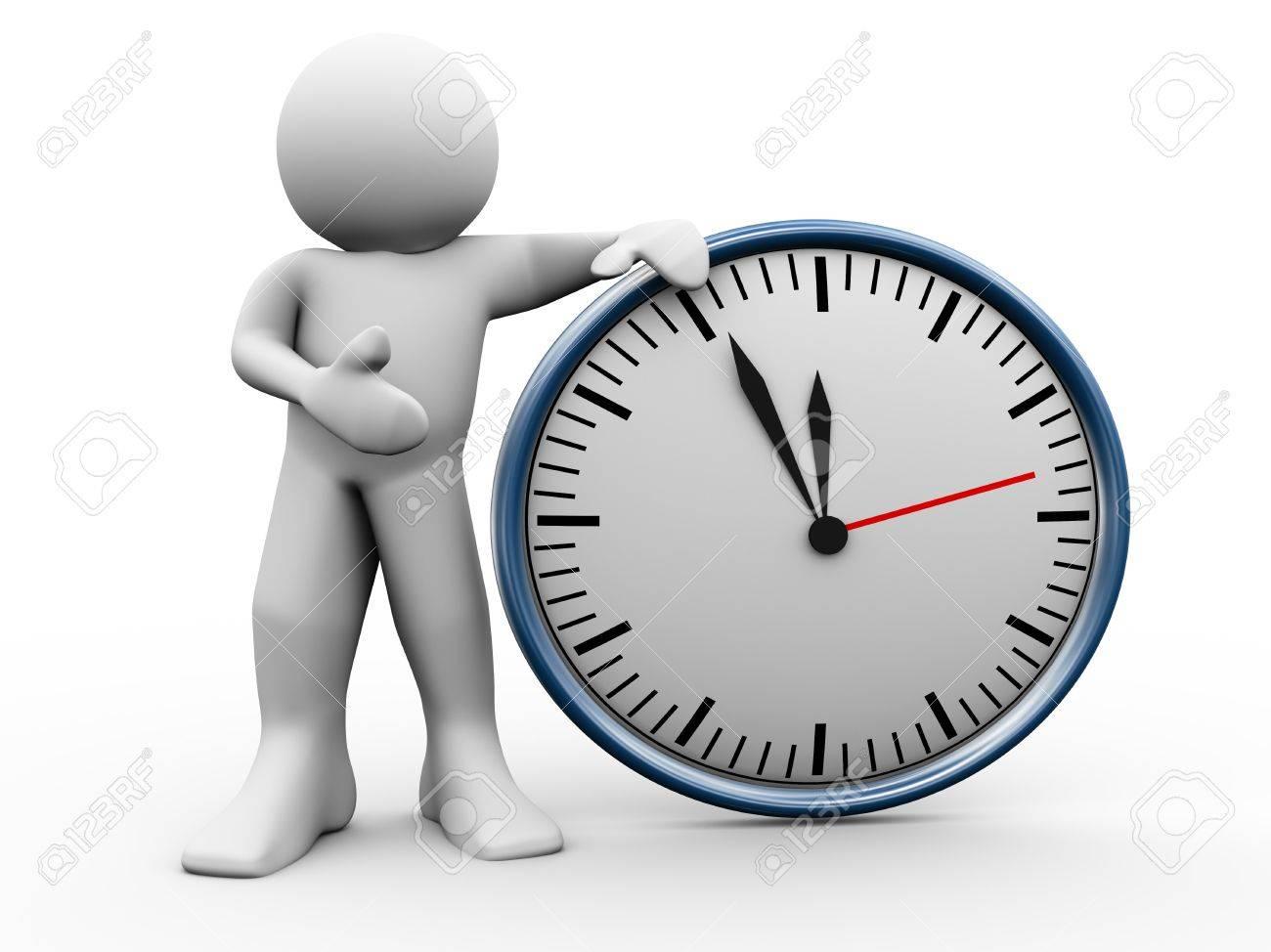 3d render d un homme debout avec l horloge 3d illustraton du caractere