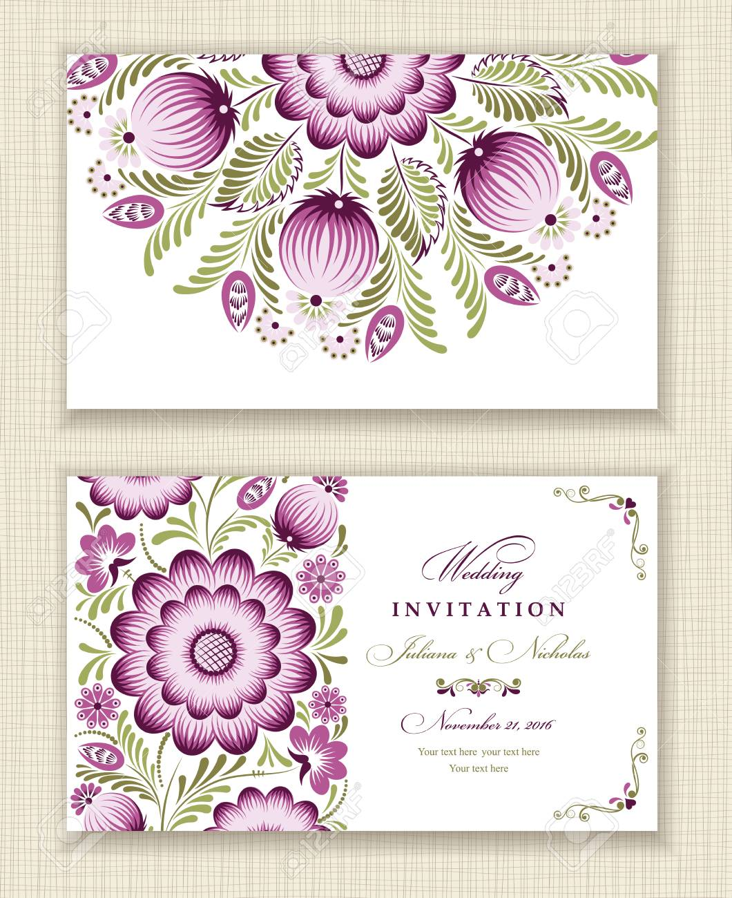 carte d invitation de mariage style ethnique le cote avant et arriere modele d ete de fleurs et de feuilles