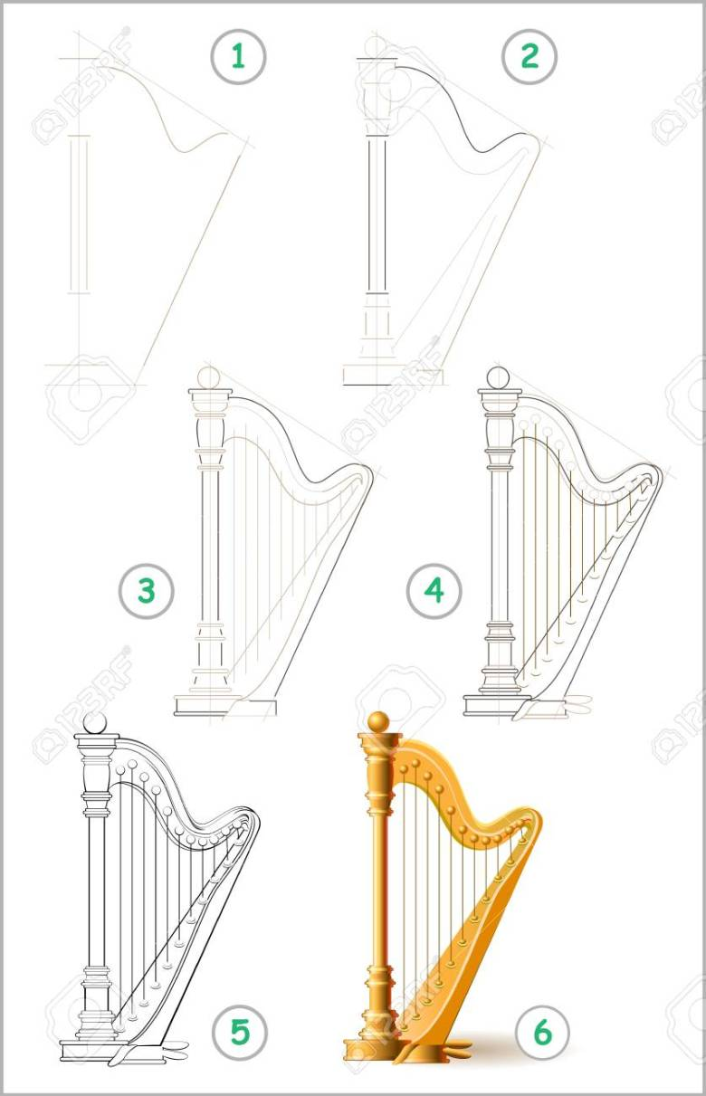 page shows how to learn step by step to draw stringed musical
