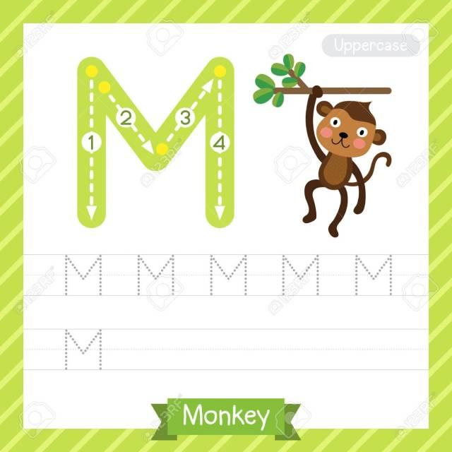Letter M Großbuchstaben Übungsarbeitsblatt Mit Affen Für Kinder