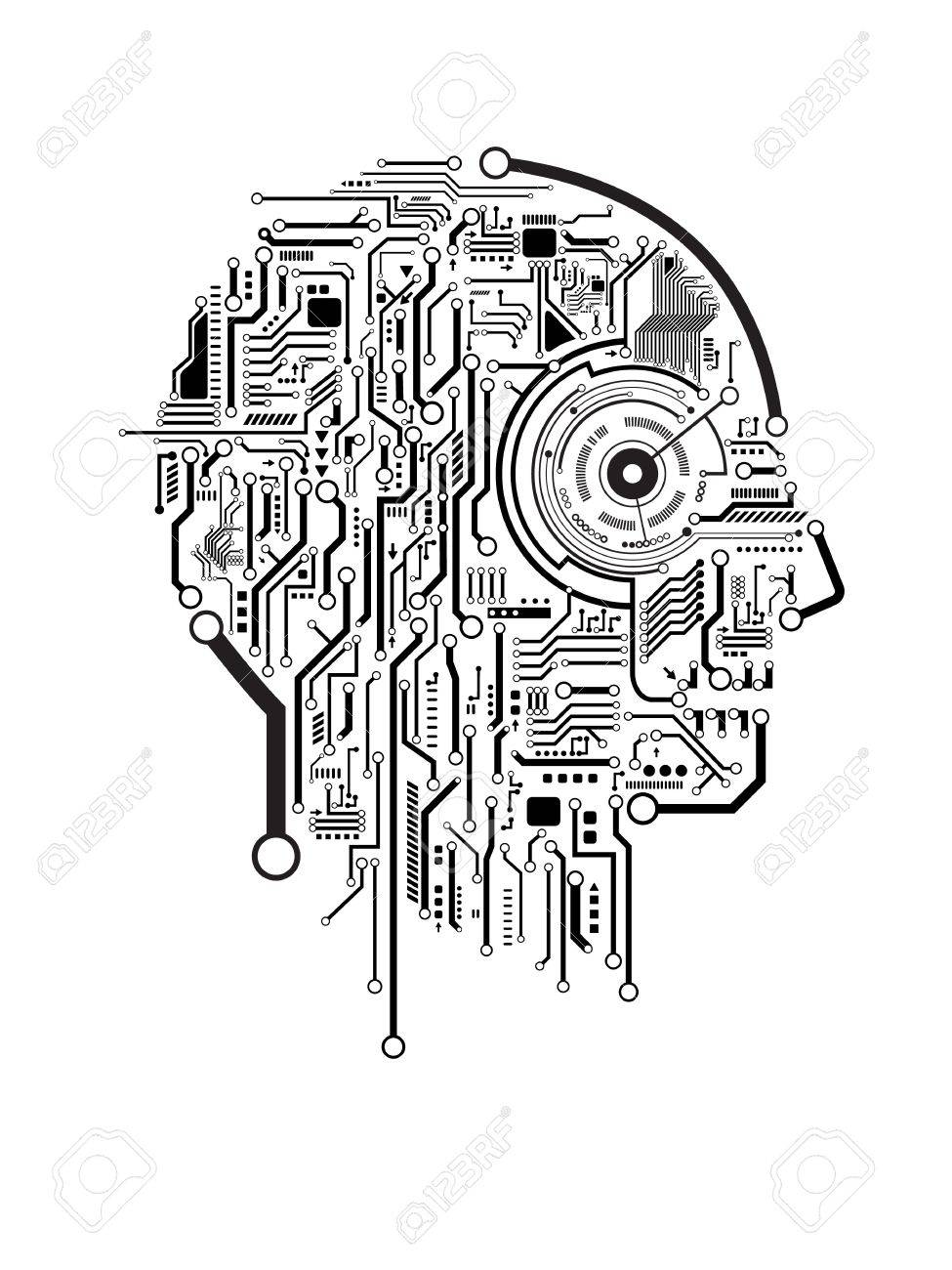 Circuit abstract human head vector background royalty free cliparts