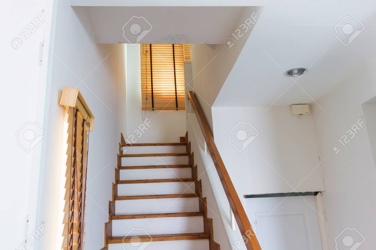 Wood Staircase Connect First Floor And Second Floor Stock Photo | Second Floor Stairs Design | Floor Plan | Hall | 1St Floor Veranda | Outside | Most Beautiful