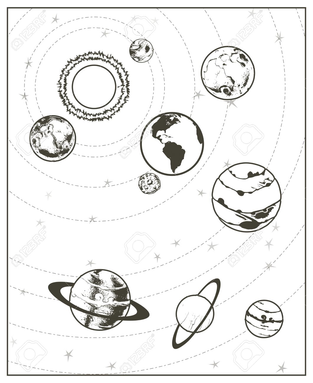 Black drawing solar system vector royalty free cliparts vectors 43460024 black drawing solar system vector photo