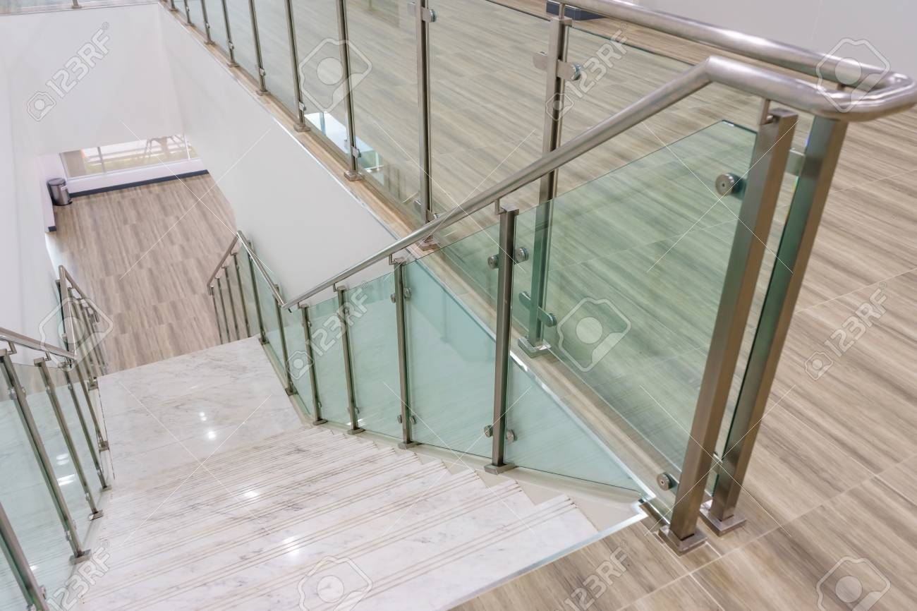 Modern White Marble Stairs With Steel And Glass Railing In A | Glass Handrails For Stairs | Wood | Frameless | Outside | Standoff | Residential