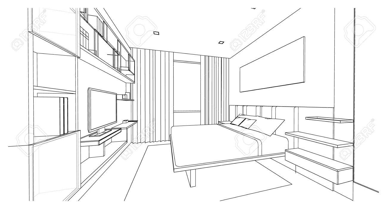 Design D Interieur De Chambre A Coucher De Style Moderne Croquis De Contour 3d Perspective Banque D Images Et Photos Libres De Droits Image 65989601