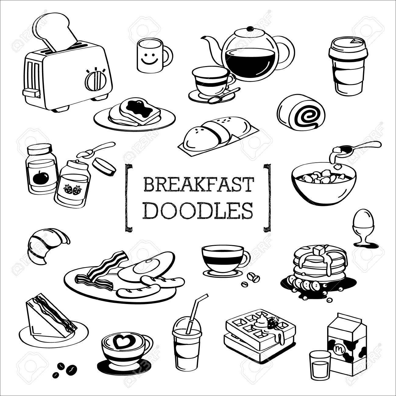 menu du petit dejeuner doodle dessin a la main des styles du menu du petit dejeuner